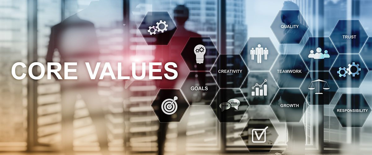 Core values concept on virtual screen. Business and finance solutions.